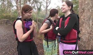 Hairy dilettante cheating wife fingered in rafting 3some