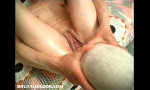 Gina jams a biggest object in her moist love tunnel