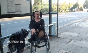 Paraprincess outdoor exhibitionism and flashing wheelchair fastened playgirl showing