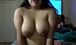 Riding daddy's dick whilst squeezing milk out my love melons